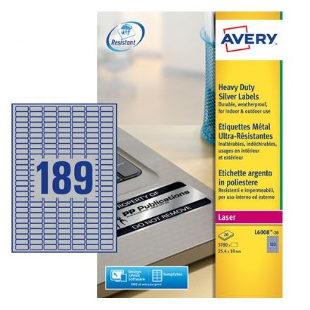 L6008-20 Heavy Duty Silver Labels